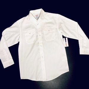 NWT IZOD boys white button down long sleeve shirt